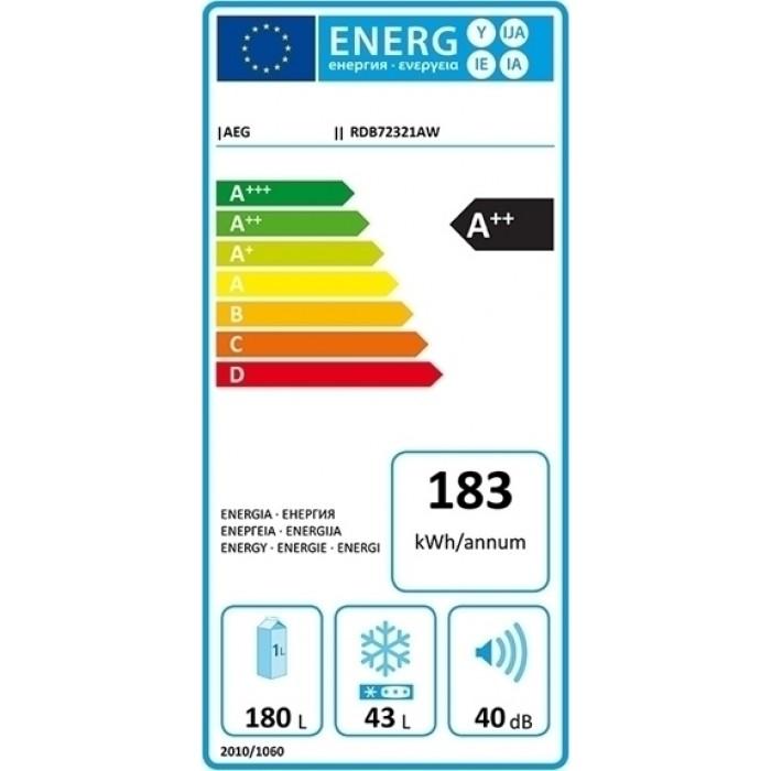 AEG RDB72321AW Ψυγείο Δίπορτο Λευκό A++ ΕΩΣ 12 ΔΟΣΕΙΣ